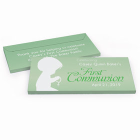 Deluxe Personalized Child in Prayer First Communion Chocolate Bar in Gift Box