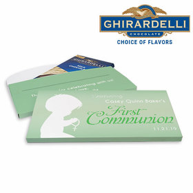 Deluxe Personalized Child in Prayer First Communion Ghirardelli Chocolate Bar in Gift Box