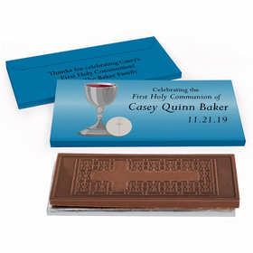 Deluxe Personalized Host & Silver Chalice First Communion Embossed Chocolate Bar in Gift Box