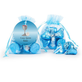 Personalized Communion Host & Silver Chalice Cross Organza Bag with Hershey's Kisses