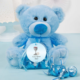 Personalized Boy Communion Host & Chalice Blue Teddy Bear and Organza Bag with Hershey's Kisses
