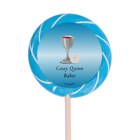 "Personalized Communion 3"" Swirly Pop Host and Silver Chalice (12 Pack)"