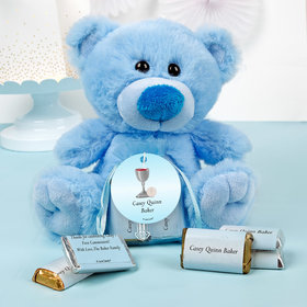 Personalized Boy Communion Host & Chalice Blue Teddy Bear and Organza Bag with Hershey's Miniatures