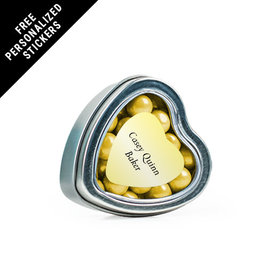 Personalized Communion Small Heart Tin Host and Silver Chalice (25 Pack)