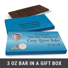 Deluxe Personalized Host & Silver Chalice First Communion Chocolate Bar in Gift Box (3oz Bar)
