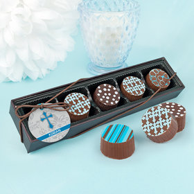 Personalized Boy First Communion Fluer Di Lis Gourmet Belgian Chocolate Truffle Gift Box (5 Truffles)