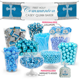 Personalized Boy First Communion Classic Cross Deluxe Candy Buffet