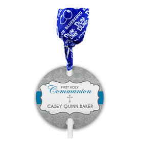 Personalized Fluer Di Lis Cross First Communion Dum Dums with Gift Tag (75 pops)