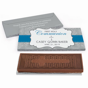 Deluxe Personalized Fluer Di Lis Cross First Communion Embossed Chocolate Bar in Gift Box