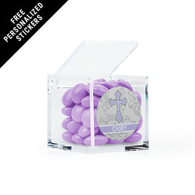 Personalized Communion Clear Cube Fluer Di Lis Cross (25 Pack)