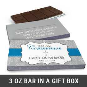 Deluxe Personalized Fluer Di Lis Cross First Communion Chocolate Bar in Gift Box (3oz Bar)