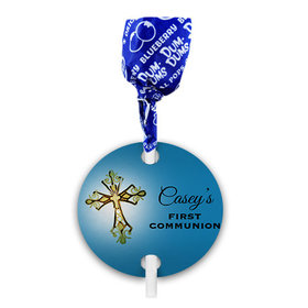 Personalized Gold Cross First Communion Dum Dums with Gift Tag (75 pops)