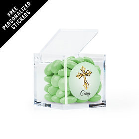 Personalized Communion Clear Cube Gold Cross (25 Pack)