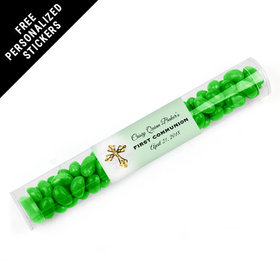 Personalized Communion Gumball Tube Gold Cross (12 Pack)