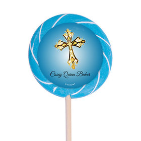 "Personalized Communion 3"" Swirly Pop Gold Cross (12 Pack)"