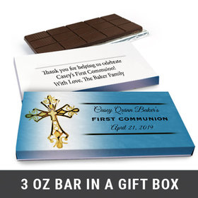 Deluxe Personalized Gold Cross First Communion Chocolate Bar in Gift Box (3oz Bar)
