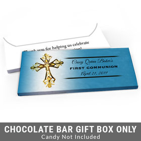 Deluxe Personalized Gold Cross First Communion Candy Bar Favor Box