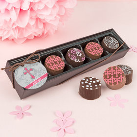 Personalized Girl First Communion Fluer Di Lis Gourmet Chocolate Truffle Gift Box (5 Truffles)