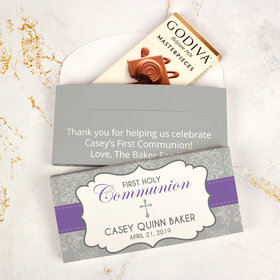 Deluxe Personalized First Communion Godiva Chocolate Bar in Gift Box- Fluer De Lis Cross