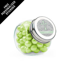 Personalized Communion Mini Side Jar Fluer Di Lis Cross (24 Pack)