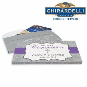 Deluxe Personalized Fluer Di Lis Cross First Communion Ghirardelli Chocolate Bar in Gift Box