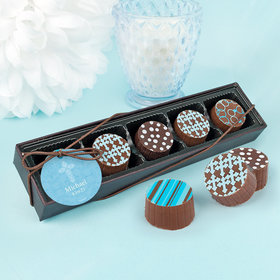 Personalized Boy First Communion Elegant Cross Gourmet Chocolate Truffle Gift Box (5 Truffles)