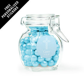 Communion Favor Personalized Latch Jar Elegant Cross (6 Pack)