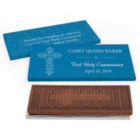 Deluxe Personalized Elegant Cross First Communion Embossed Chocolate Bar in Gift Box
