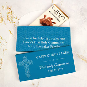 Deluxe Personalized First Communion Godiva Chocolate Bar in Gift Box- Elegant Cross
