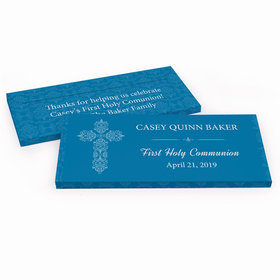 Deluxe Personalized Elegant Cross First Communion Chocolate Bar in Gift Box