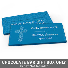 Deluxe Personalized Elegant Cross First Communion Candy Bar Favor Box