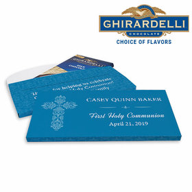 Deluxe Personalized Elegant Cross First Communion Ghirardelli Chocolate Bar in Gift Box