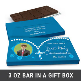 Deluxe Personalized Rosary Photo First Communion Chocolate Bar in Gift Box (3oz Bar)