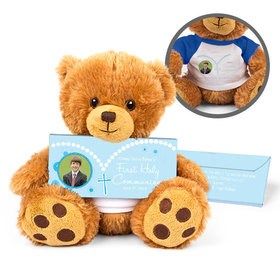 Personalized Rosary Photo Teddy Bear with Belgian Chocolate Bar in Deluxe Gift Box