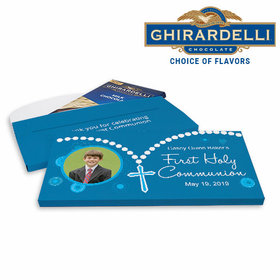 Deluxe Personalized Rosary Photo First Communion Ghirardelli Chocolate Bar in Gift Box