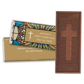 Personalized First Communion Stained Glass Embossed Chocolate Bar
