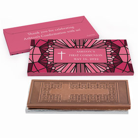 Deluxe Personalized Stained Glass First Communion Embossed Chocolate Bar in Gift Box