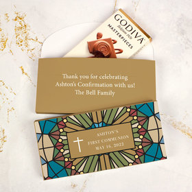 Deluxe Personalized First Communion Godiva Chocolate Bar in Gift Box- Stained Glass