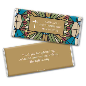 Personalized First Communion Stained Glass Chocolate Bar & Wrapper