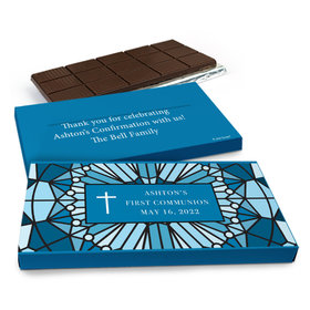 Deluxe Personalized Stained Glass First Communion Chocolate Bar in Gift Box (3oz Bar)