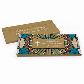 Deluxe Personalized Stained Glass First Communion Chocolate Bar in Gift Box