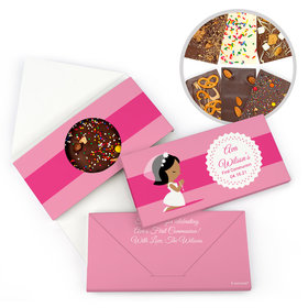 Personalized Little Girl in Prayer First Communion Gourmet Infused Belgian Chocolate Bars (3.5oz)
