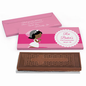 Deluxe Personalized Little Girl in Prayer First Communion Embossed Chocolate Bar in Gift Box