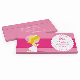 Deluxe Personalized Little Girl in Prayer First Communion Chocolate Bar in Gift Box