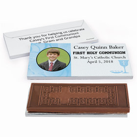 Deluxe Personalized Photo & Eucharist First Communion Embossed Chocolate Bar in Gift Box