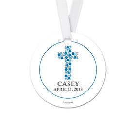 Personalized Stone Cross Communion Round Favor Gift Tags (20 Pack)