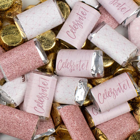 Rose Gold Celebrate! Hershey's Miniatures, Kisses, and Peanut Butter Cups Candy Mix