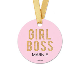 Personalized Girl Boss Round Favor Gift Tags (20 Pack)