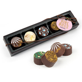 Personalized Girl Boss Gourmet Chocolate Truffle Gift Box (5 Truffles)