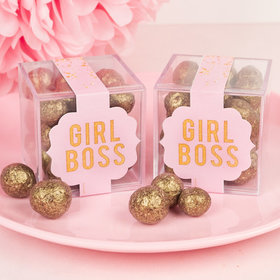 Personalized Mother's Day JUST CANDY® favor cube with Premium Sparkling Prosecco Cordials - Dark Chocolate